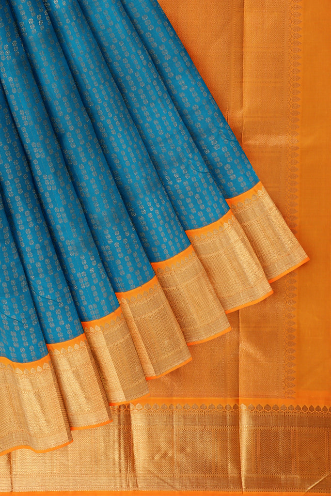 Torqouise Blue saree with Orange Border