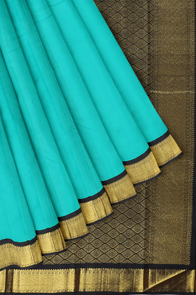 Torquiose Blue saree with Black and Gold border