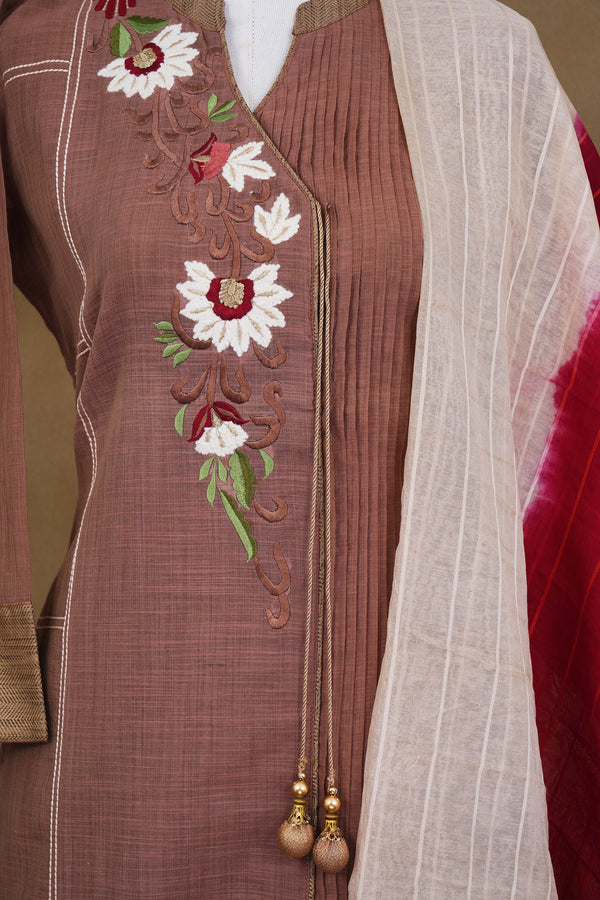 Bown floral design top with white bottom and white red shawl kurti