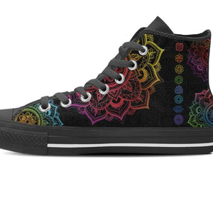 zoomed in black high top shoe colorful chakra mandala symbols