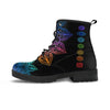single black vegan boot colorful chakra mandala designs