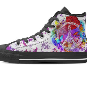 zoomed in single black and white high top shoe purple peace design