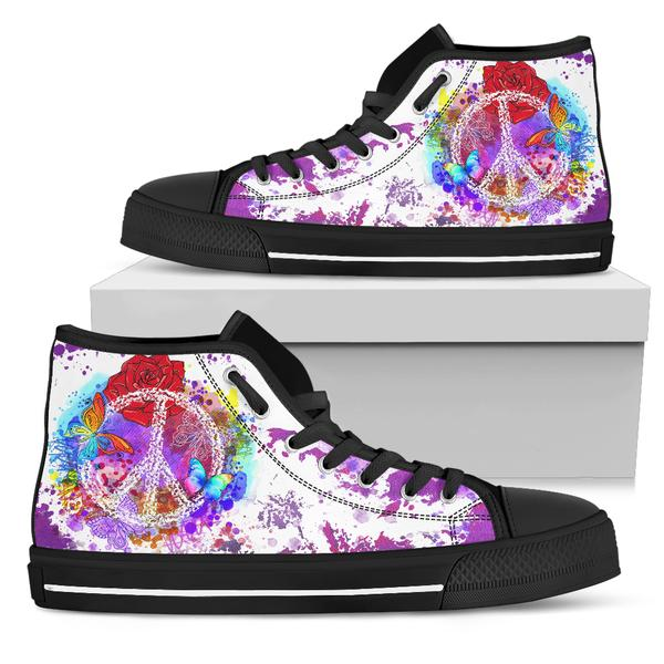 black and white high top shoes purple peace design on shoe box