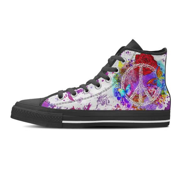 single black and white high top shoe purple peace design