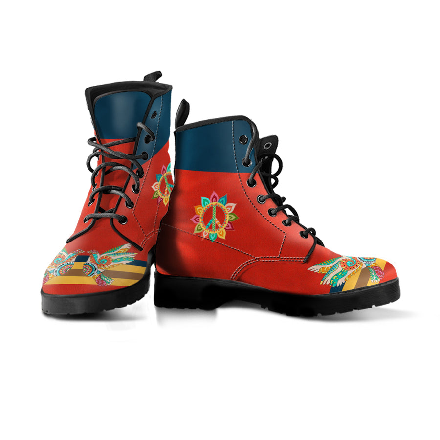 red and navy blue vegan boot with colorful peace and dove design