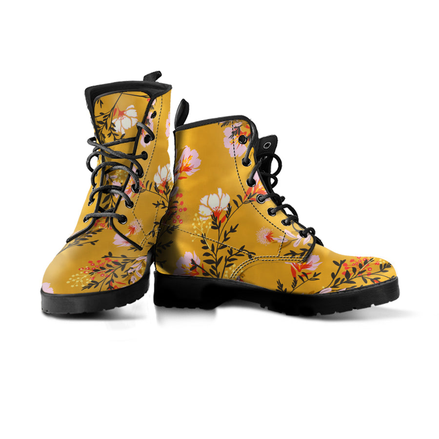 one yellow vegan boot with pink and white floral design
