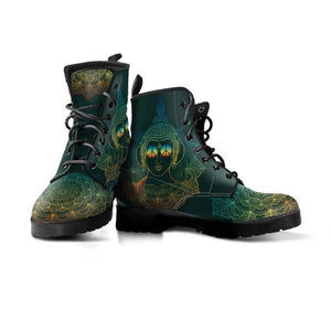 one pair green vegan boots buddha mandala design