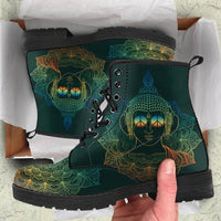 green vegan boots buddha mandala design in shoe box
