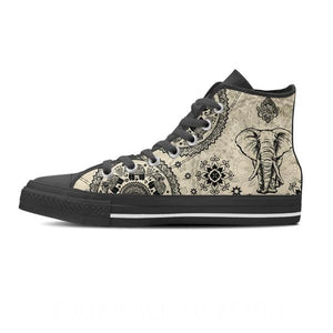 light brown high top shoe elephant design