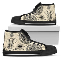 light brown high top shoes elephant design on shoe box