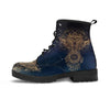 single navy blue vegan boots golden owl dreamcatcher design