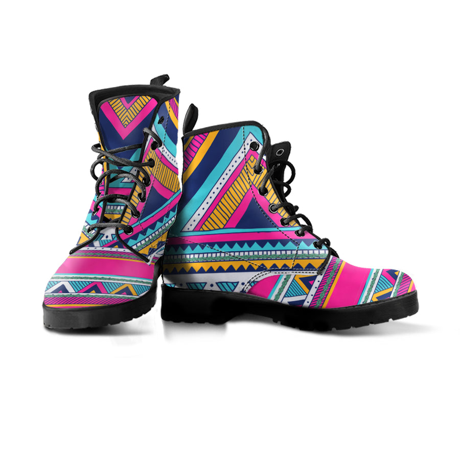 one vegan boot with pink blue and yellow geometric patterns