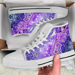purple mandala high top shoes in shoe box