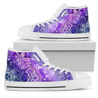 purple mandala high top shoes on shoe box