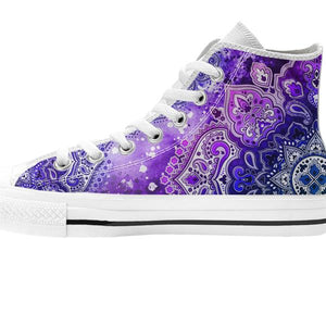 zoomed in purple mandala high top shoe