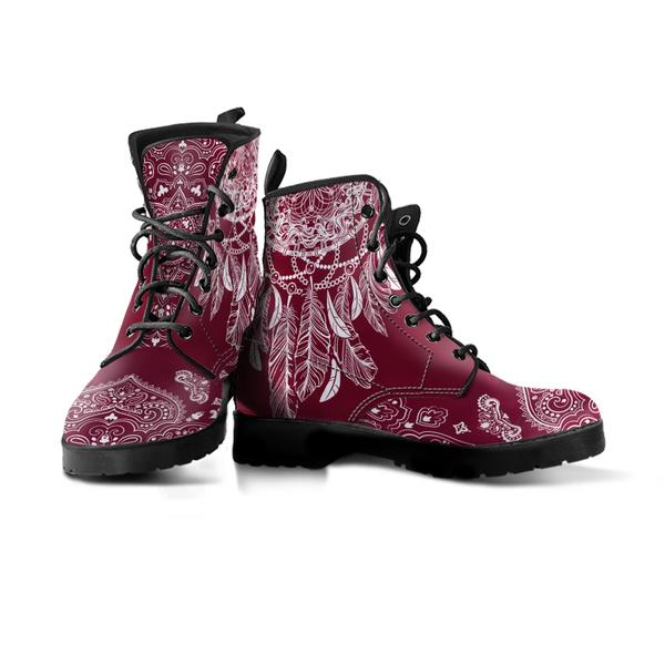 red vegan boot with dream catcher mandala design