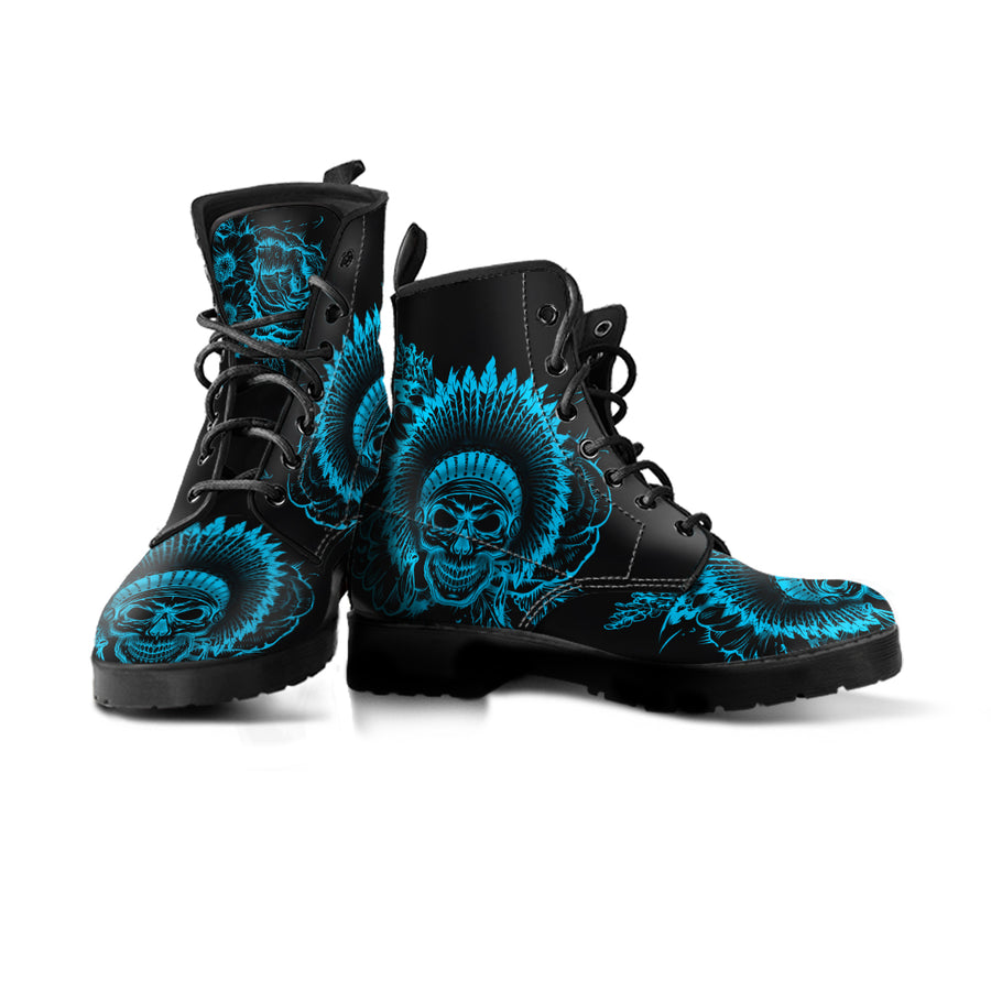 single black vegan boot light blue feathered skull designs