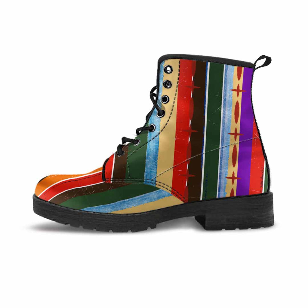 one rainbow colored striped vegan boot