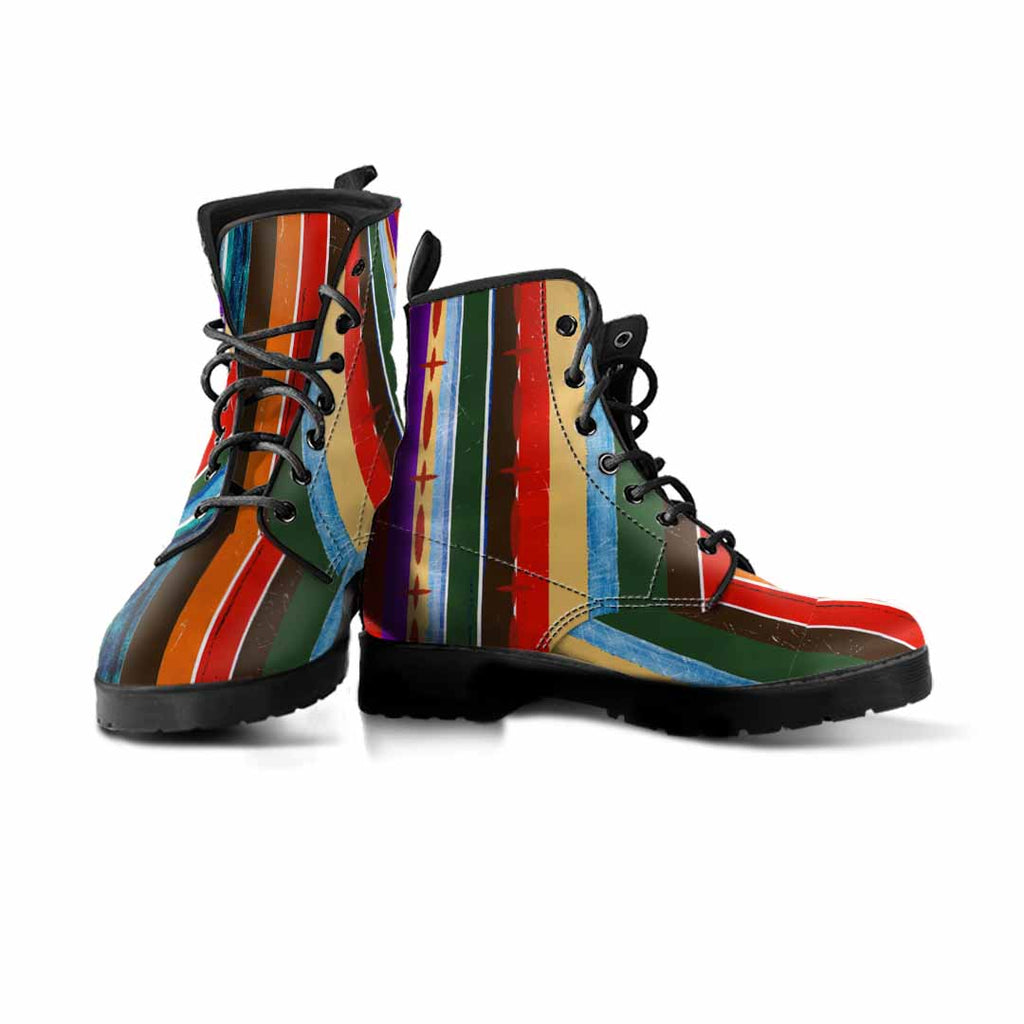 pair of rainbow colored striped vegan boots