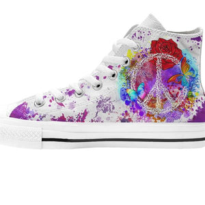 zoomed in single white high top shoe purple peace design