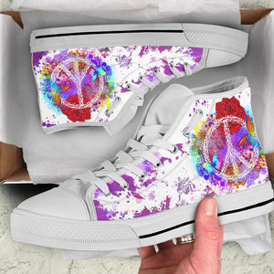 white high top shoes purple peace design in shoe box
