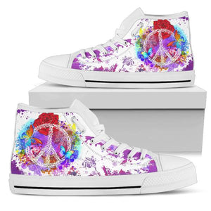 white high top shoes purple peace design on shoe box