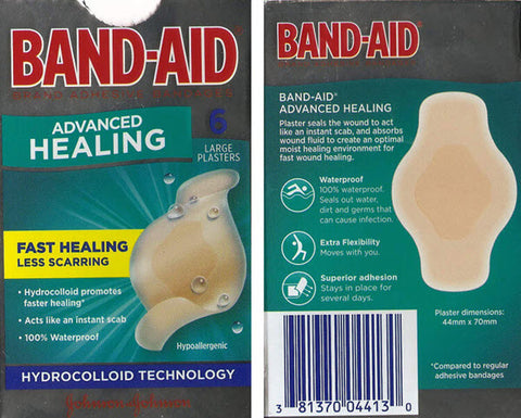 Band-Aid Advanced Healing is a hydrocolloid blister dressing