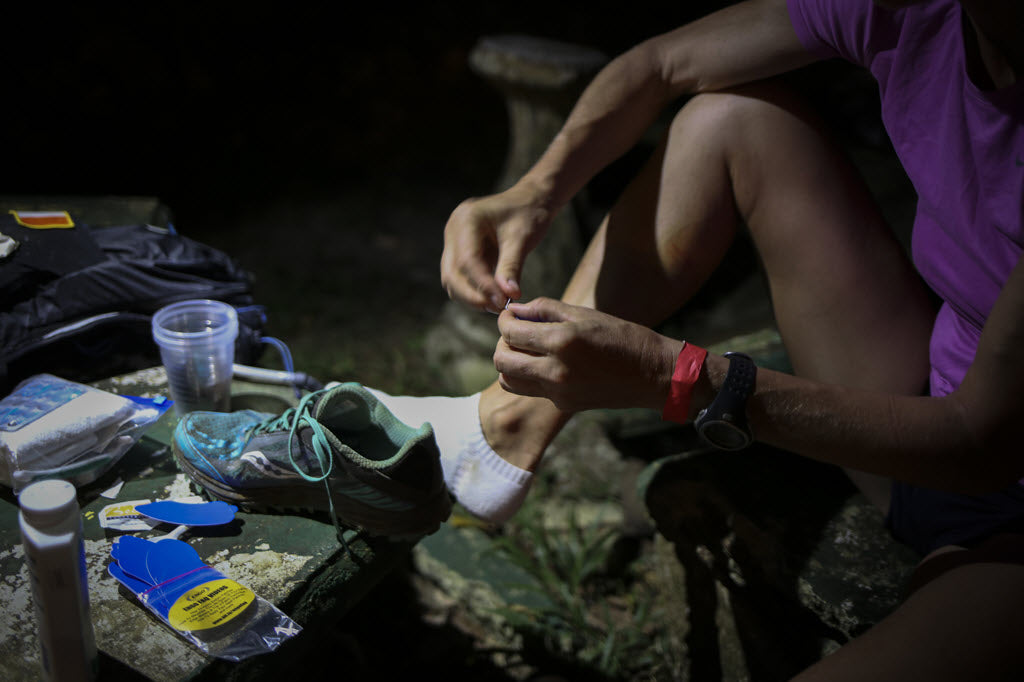 ENGO Blister Patches in use at an ultramarathon