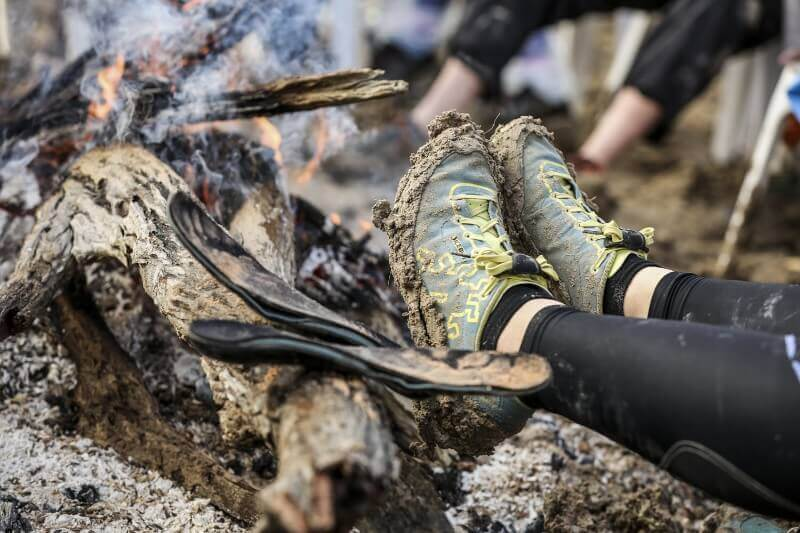 Drying shoes and insoles by the BRR campfire
