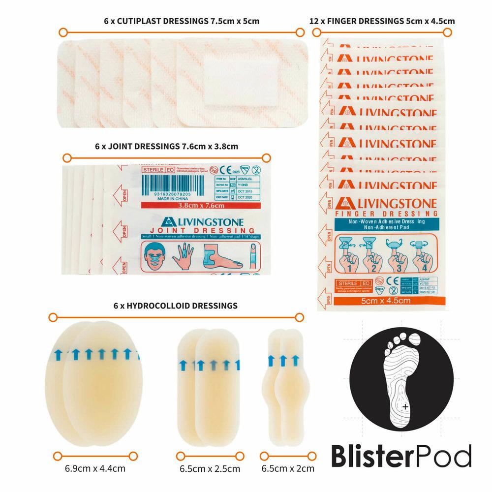 Dressings and plasters in the Ultra Hiking Blister Kit