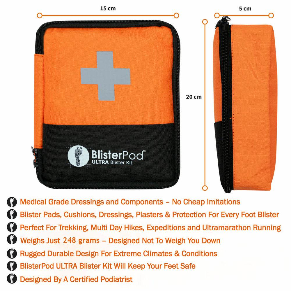 Ultra Hiking Blister Kit features