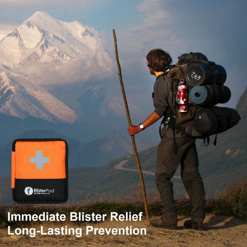 Hiker carrying the Ultra Hiking Blister Kit