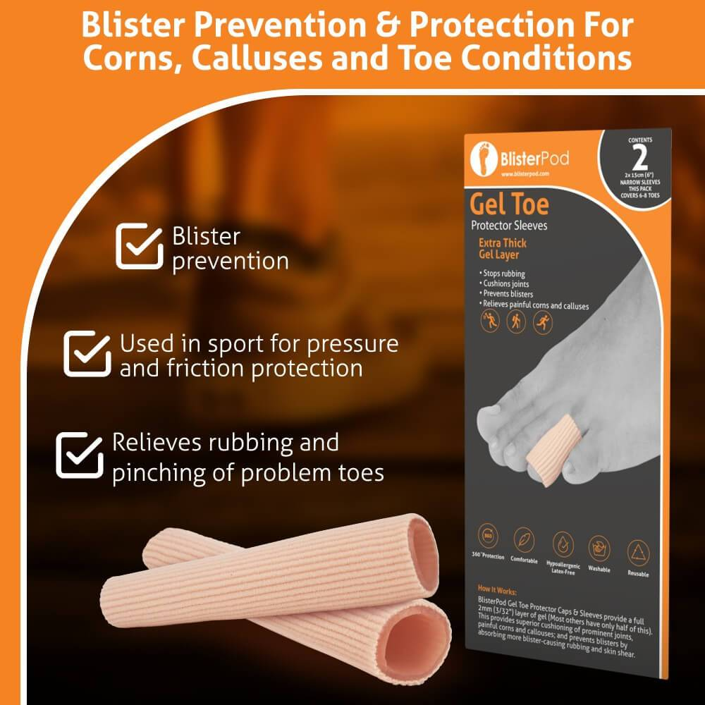 BlisterPod Gel Toe Protector Sleeves narrow size for small toes blister prevention