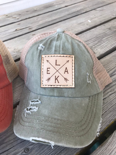 Lake with arrows Patch Hat