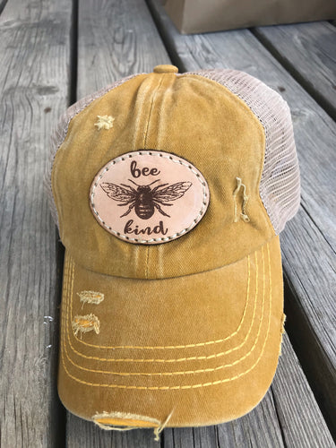 Bee Kind Distressed Patch Hat