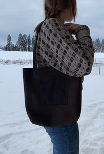 Brown small tote bag