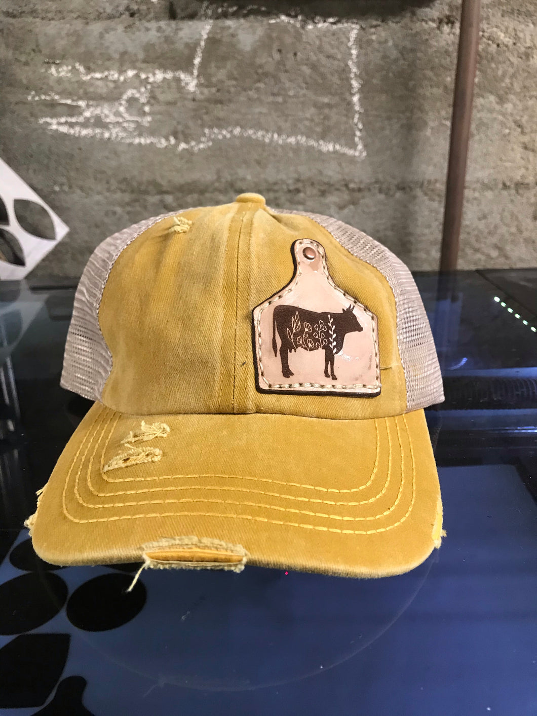 Flower Cow Tag Patch Hat