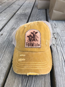 Farm life & Cow Distressed Patch Hat