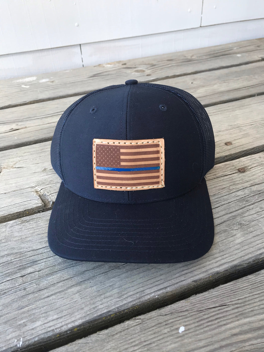 Blue Line American Flag Patch Hat