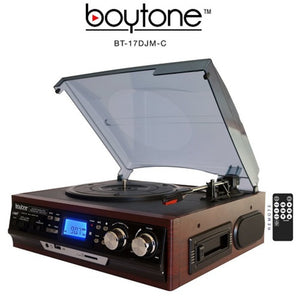 Boytone BT-17DJM-C 3-speed Stereo Turntable, 2 Built in Speakers Digit