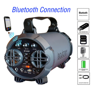 Boytone BT-44GR Portable Bluetooth Indoor/Outdoor 2.1 Hi-Fi Cylinder L