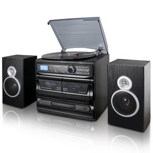 Trexonic 3-Speed Vinyl Turntable Home Stereo System with CD Player, Du