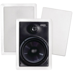 "BIC America M-PRO6W 150-Watt 6.5"" Weather-Resistant In-Wall Speakers with Pivoting Tweeters and Metal and Cloth Grilles"