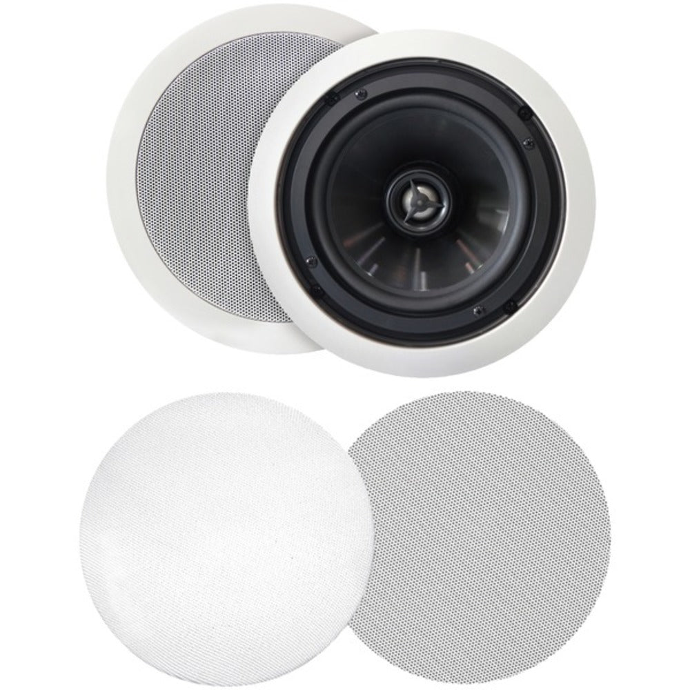 "BIC America MSRPRO6 125-Watt 6.5"" Weather-Resistant In-Ceiling Speakers with Pivoting Tweeters and Metal and Cloth Grilles"