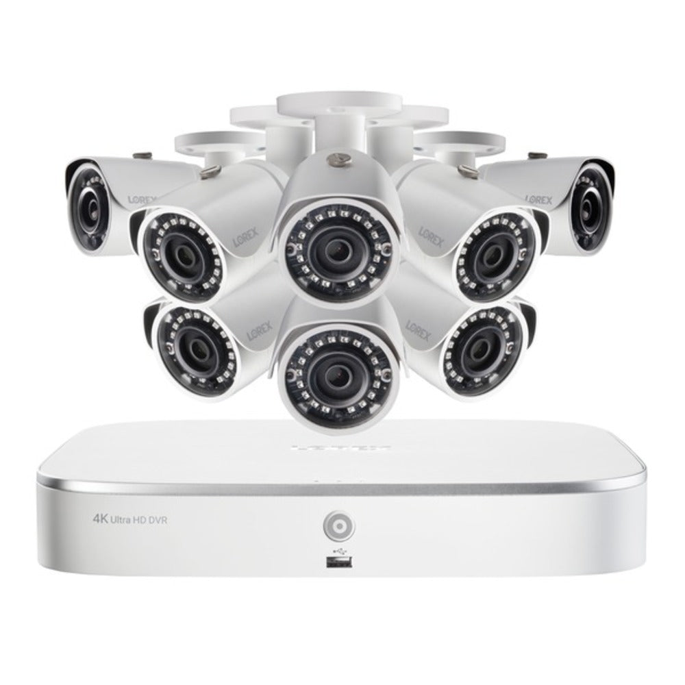 Lorex NK182-85CB 4K Ultra HD 8-Channel Security System with 2 TB NVR and 8 Super HD 5.0-Megapixel Bullet Security Cameras with Color Night Vision and Smart Home Voice Control