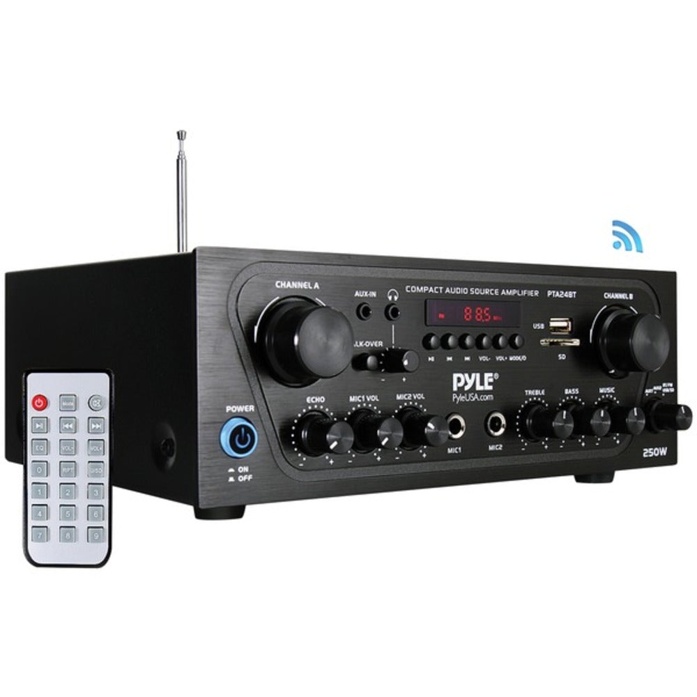 Pyle Home PTA24BT 250-Watt Compact Bluetooth Audio Stereo Receiver with FM Radio