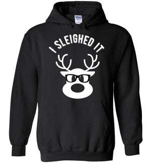 Postal Worker Tees Christmas Hoodie / Black / S Christmas - Reindeer I sleighed it
