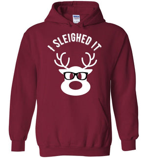 Postal Worker Tees Christmas Hoodie / Cardinal Red / S Christmas - Reindeer I sleighed it