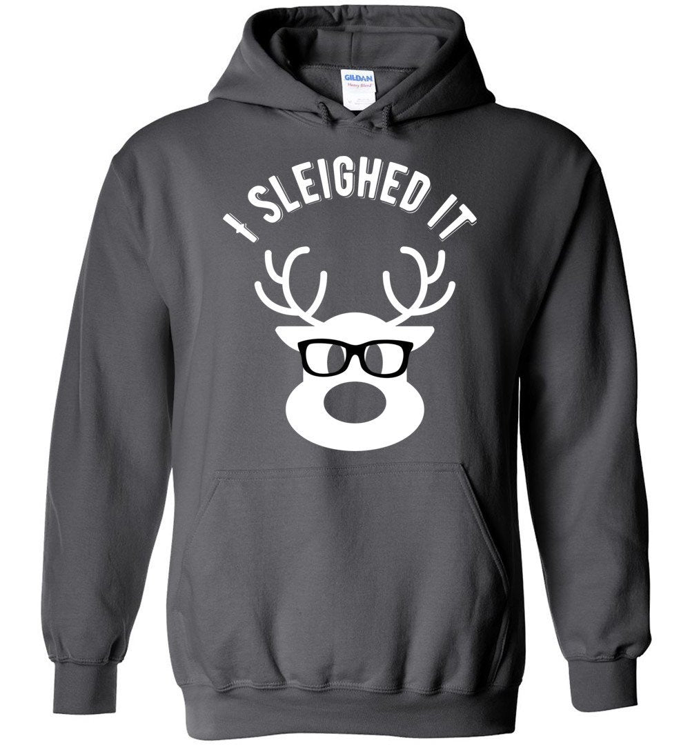 Postal Worker Tees Christmas Hoodie / Charcoal / S Christmas - Reindeer I sleighed it
