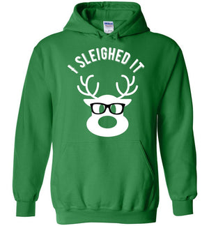 Postal Worker Tees Christmas Hoodie / Irish Green / S Christmas - Reindeer I sleighed it
